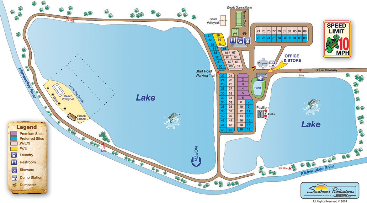 Sycamore RV Resort Site map